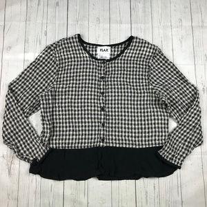 FLAX gingham linen button down shirt blouse
